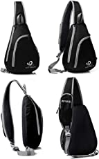 WATERFLY Sling Shoulder Bag, Multipurpose Waterproof Crossbody Triangle Pack Rucksack for Hiking Climbing Cycling School Handbag