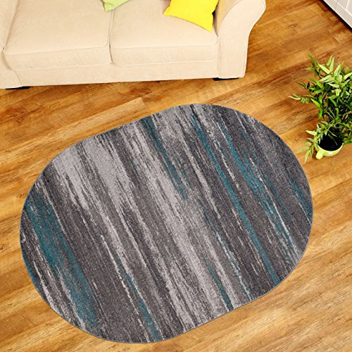 """Modern Oval Rugs For Living Room Bedroom - Great Quality For Best Price - Mosaic Pattern Grey 140 x 190 cm (4ft7"""" x 6ft3"""")"""