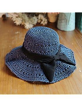 LVLIDAN Sombrero para el sol del verano Lady Anti-sol Gran cara ancha playa sombrero de paja plegable azul