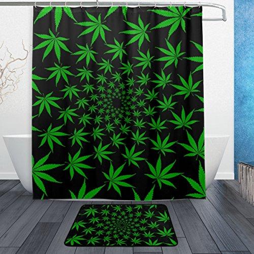 MyDaily Grün Cannabis Marihuana Leaf Duschvorhang 152,4x 182,9cm mit Badteppich Teppich & Haken, schimmelresistent & Wasserdicht Polyester Dekoration Badezimmer Vorhang Set