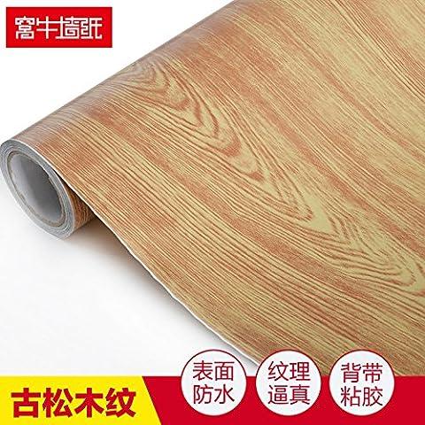 JLSZ Parete in pvc legno grano-auto-adesivo quarti carta da parati