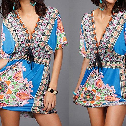 Hrph Sexy Robe de Soie Col V Cacances à la plage l'été Robe de Douche Imprimée de Fleurs #3