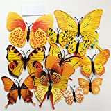 kongboo 12 Pieces 3D PVC Butterfly Stickrs Magnetic Wall Sticker Home Background Decoration for Kids (Yellow)