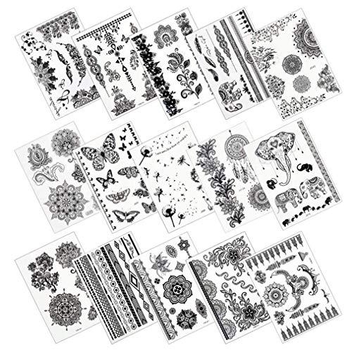 Lystaii 15 Blatt Temporäre Tätowierungsaufkleber Wasserdichter Tattoos Body Art Sticker (Tattoos Temporäre Fisch Koi)