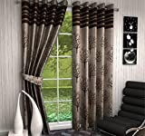 Jute Curtains for Windows Jacquard Modern Design Coffee Color Contemporary Blackout Eyelet Curtain, Size - (4 x 5 feet), Set of 2pc By Fresh From Loom