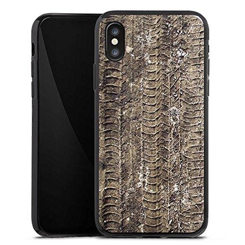 Apple iPhone X Silikon Hülle Case Schutzhülle Reifenspuren Spuren Abdruck Silikon Case schwarz