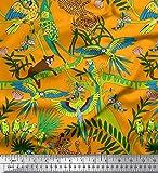 Soimoi Orange Poly Krepp Stoff Äste, Papageien & Leopard