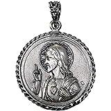 Medalla colgante plata Ley 925m escapulario macizo 24mm. Sagrado Corazón de Jesús Virgen del Carmen