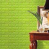 Gaddrt Neue PE-Schaum-3D-Tapete Wandpaneele Steinoptik Selbstklebend DIY Wand-Aufkleber-Wand-Dekor prägeartiger Ziegelstein-Stein für Wohnzimmer moderne Hintergrund TV-Decor, Schlafzimmer oder Küche (Grün)