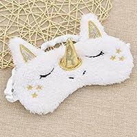 FowerYY Máscara Durmiente Lindo Unicornio Cuerno Suave Felpa con los Ojos vendados Cubierta para Las Mujeres niñas