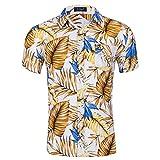 Kuson Urlaub Strand Hawaiihemd Shirt Freizeithemd Kurzarm mit Modischem Druck Blätter XL