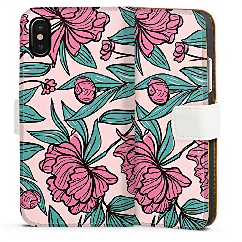 Apple iPhone X Silikon Hülle Case Schutzhülle Boho Blumen Sommer Sideflip Tasche weiß