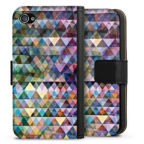 Apple iPhone X Silikon Hülle Case Schutzhülle Muster Farben Dreiecke Sideflip Tasche schwarz