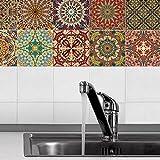 JY ART 20 stück Fliesenaufkleber für Küche und Bad | Rot Designs wandfliesen Aufkleber für 20x20cm Fliesen | Fliesen-Aufkleber Folie | Deko-Fliesenfolie für Küche u. Bad (20 stück, HL105), 20 * 20cm