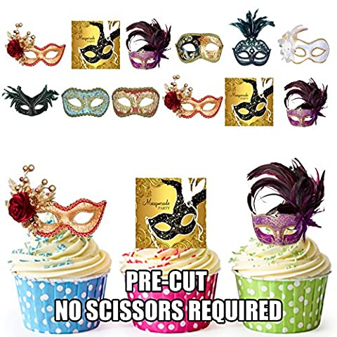 Masquerade Ball Masks Party Pack Mix - Edible Stand-up Cupcake Toppers by AKGifts