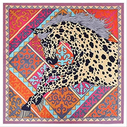 SHZSMHD Luxusmarke 100% Twill Seidenschal Frau Poker Horse Neck Wraps Schal Square Female Big Size Schal Schleier Halstuch Lila Rand - Big Square Schal