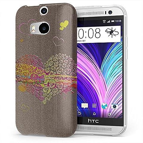 Amore 10021, Cuore, Cristallino Custodia Protettiva in Gel Silicone Caso Ultra Sottile Copertura con Disegno Strutturato per HTC One M8
