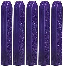 Voberry 5Pcs Vintage Manuscript Sealing Seal Wax Sticks for Postage Letter Purple