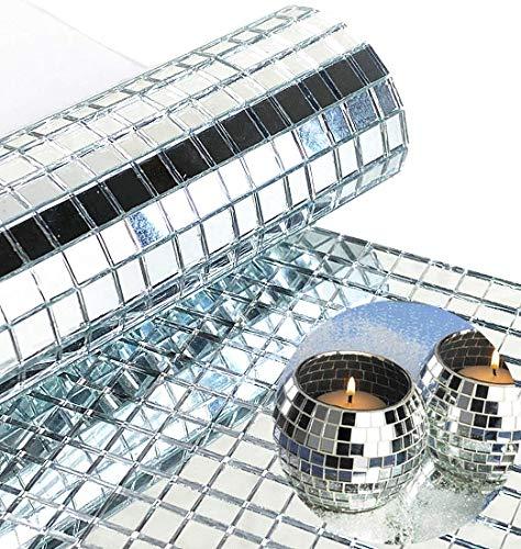 WDragon - Juego de 1800 piezas de azulejos de mosaico de espejos plateados de cristal...