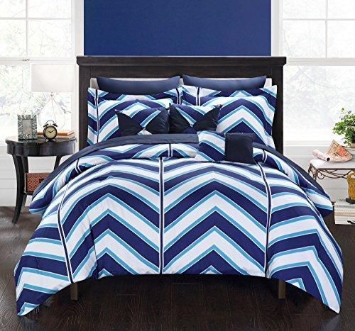 Chic Home 10Stück Surfer Chevron und geometrische Bedruckte Wende Queen Bed in a Bag Tröster Set Marineblau Blatt-Set und deocrative Kissen enthalten