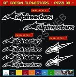 Aufkleber stickers ALPINESTARS moto decal bike-Motorrad- Cod. 0645 (Bianco cod. 010)