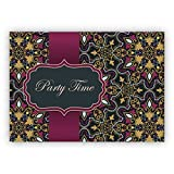 Klappkarten Set (4Stk) Elegante Einladungskarte für Geburtstags Fete, Abi Feier, Geburtstags Fest mit arabischem Muster im orientalischen Stil, rosa gold Optik: Party time - auch für Firmen Kunden und Geschäftspartner