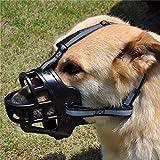 JYHYEU Soft Silica Gel Dog Muzzles,Adjustable Anti Biting Chewing Barking Training Dog Muzzle/Black-6