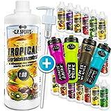 C.P. Sports Getränke Sirup zuckerfrei, Getränk 1:80 + Dosierpumpe und Trinkflasche, Getränkekonzentrat 1000ml, 1 Liter Mineral Sirup, 20 Sorten, Mineraldrink