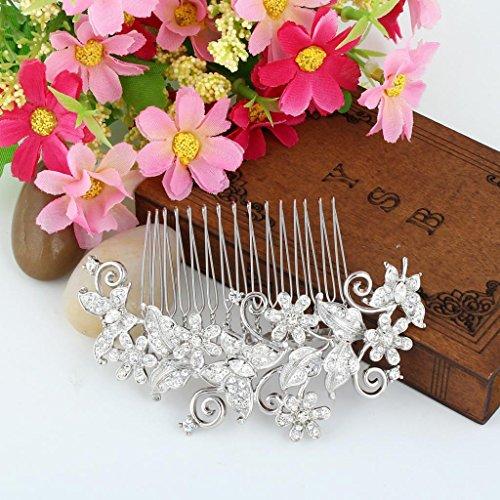 EVER FAITH® Kristall Vintage Inspiriert Schmetterling Blume Hochzeit Haarkamm Haarschmuck N03349-1 - 4