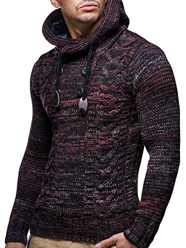 LEIF NELSON Herren Pullover Hoodie Kapuzenpullover Strickpullover Longsleeve Sweater Sweatshirt Pulli LN20227 Rot