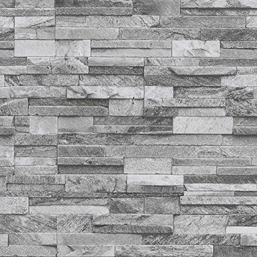 P&S International Schiefer Ziegel Muster Kunst Steineffekt Strukturtapete - Hellgrau 42106-40