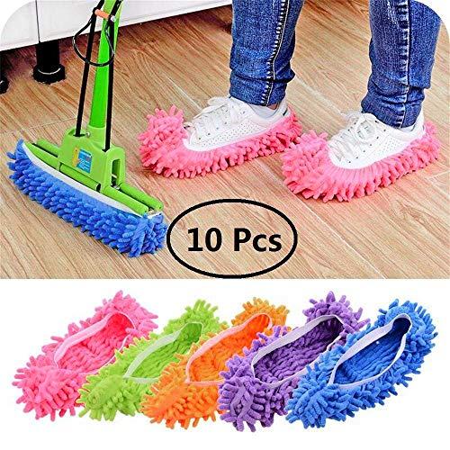 5 Paia in Microfibra Copriscarpe Dust Mop Pantofole Multi-Funzione Dust Capelli Cleaner Mocio Pantofole Slippers Pulizia Pavimento per Pulire Casa, Il Bagno, l'Ufficio, la Cucina