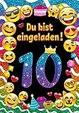 JuNa-Experten 12 Einladungskarten Zum 10 Geburtstag für Mädchen / Einladung Geburtstag zehnte Kindergeburtstag / Einladungen Zum Geburtstag / Kartenset für Kindergeburtstag / Glitzer