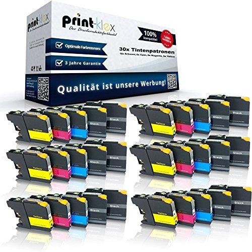 Preisvergleich Produktbild 30x kompatible Tintenpatronen für Brother LC121 LC123 MFC J245 MFC J4310 DW MFC J4410 DW MFC J4510 DW MFC J4610 DW MFC J4710 DW MFC J6520 DW MFC J6720 DW - Sparpack - Eco Office Serie