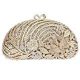 Bonjanvye Glitter Studded Floral Clutch Evening Bags for Girls Handbags AB Gold