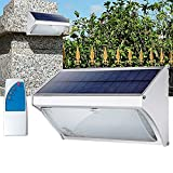 AOFENG 56 LEDs mit Fernbedienung Solarleuchte Ultraslim Solarlampe Wandlampe mit PIR-Bewegungsmelder IP67 Aluminium Außenleuchten (56LED, Kaltweiß)