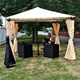 Kingfisher FSGHD Heavy Duty Garden Gazebo with Side Curtains - Beige