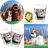 The Secret life of Pets - Hunde - 52tlg. Partyset : Teller Becher Servietten für 16 Kinder
