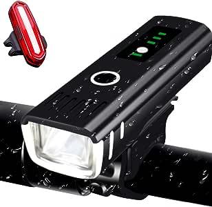 AMANKA Luci per Bicicletta Ricaricabili USB,Luci LED Bici con Display di Potenza Super Luminoso Luce Bici Anteriore e Posteriore per Bici Strada e Montagna