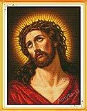 Einzigartige Stickpackung Kreuzstich JESUS MIT CHRISTUSDORN ohne Vorkenntnis mit vorbedruckte Stickvorlage 44 x 55 cm printed cross stitch kit