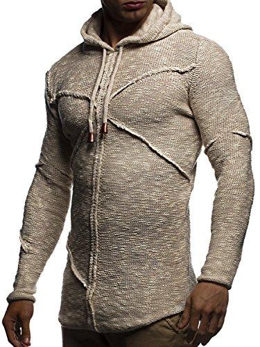 LEIF NELSON Herren Pullover Kapuzenpullover Hoodie Strickpullover mit Kapuze Sweatjpullover Zipper Sweatshirt LN20725; Grš§e M, Beige