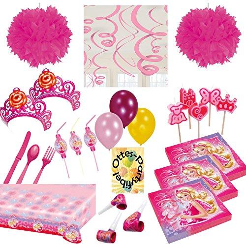 s Partyset 97tlg. für 6 Kinder Servietten Trinkhalme Tischdecke Luftrüssel Krönchen Kerzen Luftballons Spiralen Besteck Pompoms ()