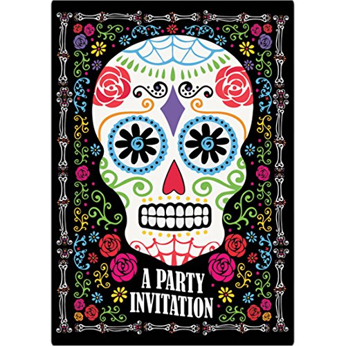 erdbeerloft - 8 Einladungskarten Sugar Skull Totenfest Muerte 9,5 x 13,5 cm, Mehrfarbig