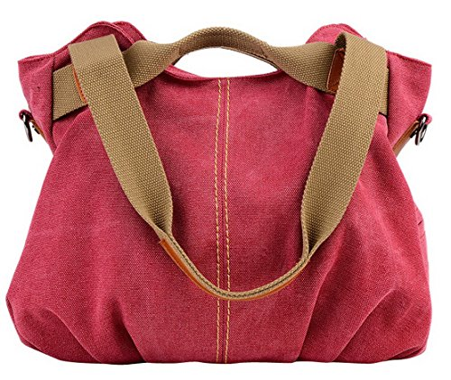 Panegy Ladies Women Casual Bag Moda Borsa A Tracolla Di Tela Moda Borsa Di Grande Capacità Per Il Tempo Libero Allaperto E Sport - Vino Rosso