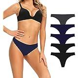 N\C Tangas Invisible Mujer Pack de 5 Microfibra Bragas sin Costuras Cintura Baja Braguitas Zero Feel Ropa Interior