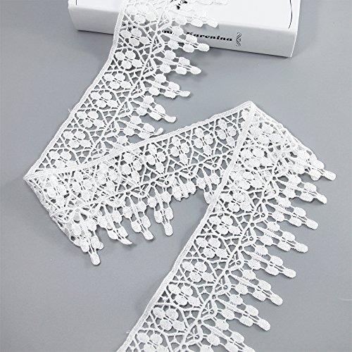 Spitzenbesatz Aufnäher 5Meter DIY Craft Kleidung nähen Zubehör Baumwolle Spitze gebrochenes weiß -