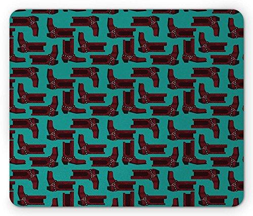 Western Maus Pad, Cartoon Stil Cowboy Stiefel Muster Western Kleidung und Rodeo Concept, Standard Größe Rechteck rutschfeste Gummi Mauspad, Burgund und Türkis