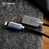 Twinsers Nylon Braided Lightning Cable For Apple IPhone X/8/8 Plus/7/7 Plus/6S/6S Plus/SE/5s (Black And Silver)