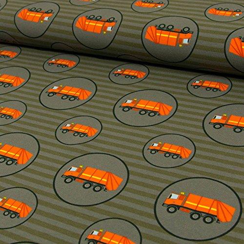 Baumwolljersey Müllautos Streifen anthrazit Kinderstoffe - Preis gilt für 0,5 Meter -