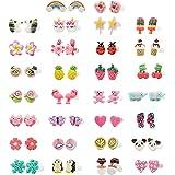 Minihope - Pendientes de plástico hipoalergénicos para niñas, diseño de donut, unicornio, múltiples animales, hechos con arci